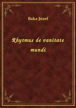 Rhytmus de vanitate mundi – ebook